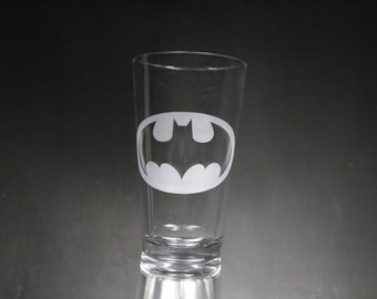 Batman Etched Glass, Superhero Glass, Custom Gift, Personalized Gift, Glassware.