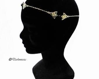 Tiara, diadem, crown, headband, necklace, triquetra, onyx, celtic, pagan, celtic, elf