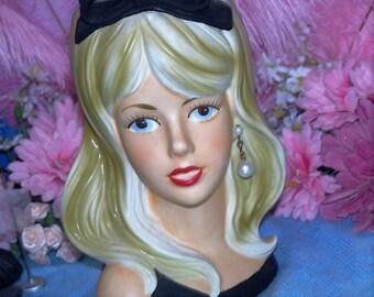 Rare Blonde Caffco Large 7 Vintage Headvase Lady head vase Headvase Vtg 60's Ponytail Halter Top Mod Teen