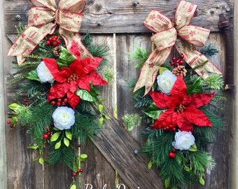 Set Of Christmas Swags, Farmhouse Christmas, Farmhouse Decor, Rustic Christmas Swags, Double Door Wreaths