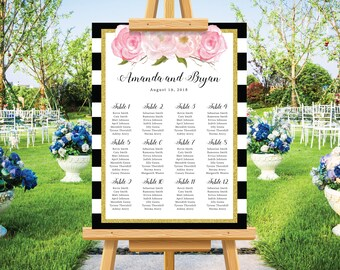 Wedding seating chart poster, blush floral watercolor, gold glitter, modern wedding, wedding seating chart, personalize wedding sign