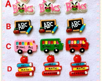 5pcs Back to school flatback resin school cabochon ABC letter resin I love book resin school bus resin school hair bow center