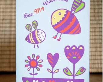 Bee Valentine Card - Bee Card, Bumble Bee Card, Honeybee Card, Bumblebee Valentine, Honeybee Valentine, FREE SHIPPING!