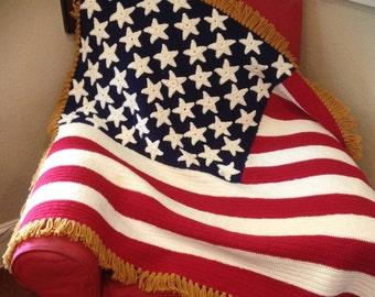 American Flag Throw, Flag Decor, US Flag Throw, Old Glory Throw, Americana Throw, Crochet Flag Throw, Crochet Flag Afghan, Stars & Stripes