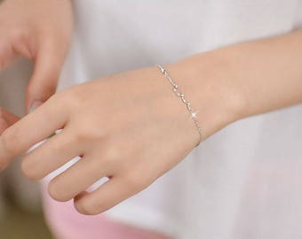 Thin Silver Star Bracelet, Dainty Minimalist Bracelet, Silver Bracelet, Stardust bracelet