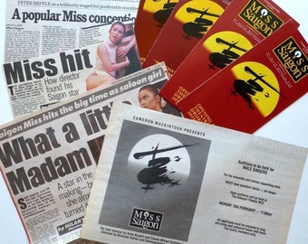 MISS SAIGON, ORIGINAL 1989 London Production, September 1989, press cuttings, flyer