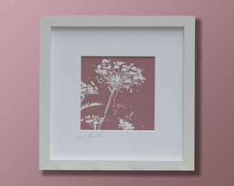Cow parsley fabric printed picture