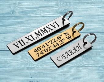 Personalized Keychain, Engraved Keychain, Custom Keychain, Coordinate Keychain, Roman Numeral Keychain, Personalized Bar Keychain