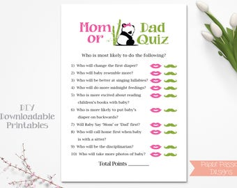 Mom Or Dad Quiz ~ Pink Bow Panda Bear Baby Shower Game ~ Girl Baby Shower