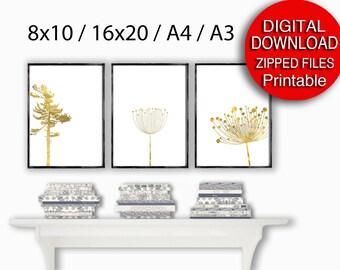 Printable A4 Scandinavian Print Set Gold Printable Art 16x20 8x10 Nature Art Set of 3 Prints