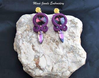 soutache earrings amethyst wine, soutache, soutache jewelry, handmade earrings, soutache jewels, soutache embroidery, stud earrings