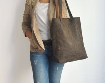 Vegan Dark Brown Tote Bag - back to school - Faux Leather - Vegan handbag - Water Resistant - Vegan Leather - Rustic Leather - Distressed