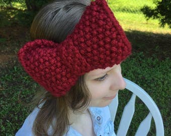 Solid Color Big Bow Headband, Seed Stitch, Shown in Red