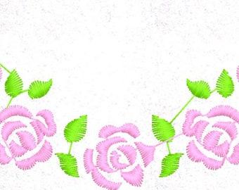 Rose Border Floral Machine Embroidery Design Pattern File - Fits 4x4 Hoop - MULTIPLE FORMATS- Instant Download