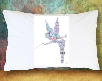 FAIRY PIXIE SPRITE Pillow Case Magic Wand Wings Red & Purple Gift Decoration Room Decor Bedding Microfiber Soft Pillowcase  Best Friend Gift