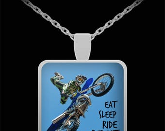 Motorcycle Necklace Eat Sleep Ride Repeat Funny Dirt Bike Gift Motocross Fan Father's Day Valentine Present Hubby