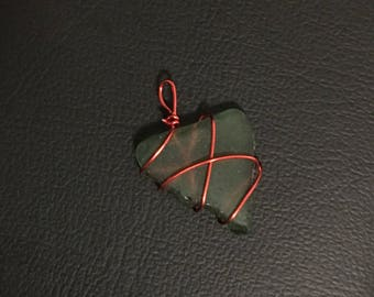 Barcelona Sea Glass Wire Wrapped Pendant