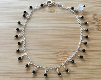 Black Spinel Sterling Silver Bracelet, Black Spinel Bracelet, Gemstone Bracelet, Beaded Bracelet