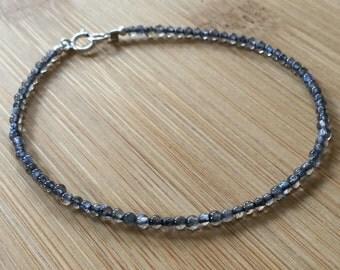 Fire Labradorite Bracelet, Beaded Bracelet, Gemstone Bracelet, Layering Bracelet, Gray Bracelet, Labradorite Jewelry