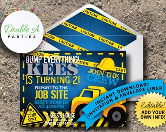 Construction Birthday Party Invitation - Boy Birthday Party Invitation, Hard Hat, Dump Truck Party Invite, Self-Editable Invitation