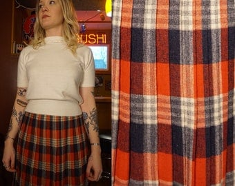 True Vintage 1950s or early 1960s  Plaid Wool Skirt Pleated 50s Red, Blue and White Tartan School Girl Medium