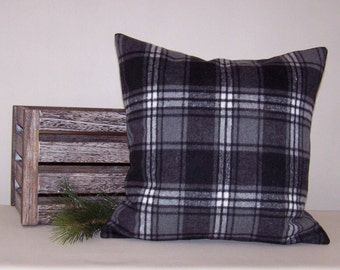 Black/Grey/White Plaid Flannel Pillow Cover 18x18