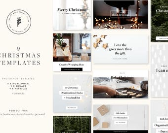 Christmas Social Bundle: 9 Social Media Templates | Instagram | Facebook Blog | Social media marketing | Pinterest