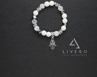 Rock crystal bracelet. White matte onyx bracelet. Summer bracelet. Pendant bracelet. Womens bracelet with pendant. Womens bracelet. Gift