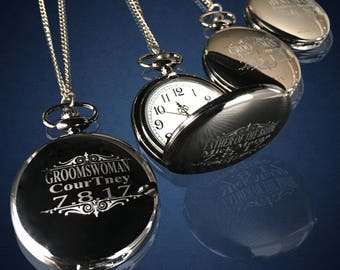 15 Personalized Pocket Watches - 15 Groomsman engraved gifts - Best Man & Father of the Bride wedding gifts - Groom gifts for him - Gift set