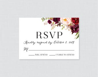 Printable OR Printed Wedding RSVP Cards - Pink and Marsala RSVP Wedding Cards - Rustic Burgundy Flower Response Cards, Wine Reply Cards 0006