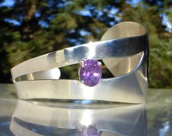 Carol Felley, Sterling Silver and Amethyst Asymmetrical Cuff Bracelet