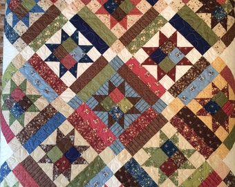 Early American, Colonial, Stars on Point Quilt, Floral, Lap Quilt,Coverlet, Handmade, blue, rose,green, brown, Classic Americana, Picnic