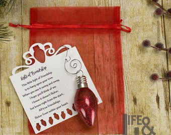 Light of Friendship Christmas Light Bulb Ornament - Gift for Friends