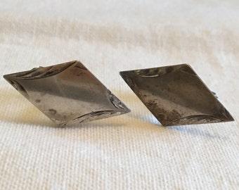 Cuff Links - Sterling Silver - Diamond Shape 1940's