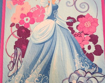 Cinderella quilt, Cinderella blanket, handmade, Lap quilt, wall hanging, girl gift, baby quilt, baby blanket, wall decor, Prince Charming