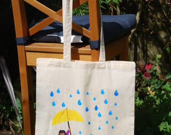 "Tote bag: ""rain"", cotton bag,  shoulder bag, shopping bag, shopper bag, canvas bag, reusable bag"