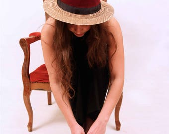 Natural Straw hat, yellow linen top and black ribbon.