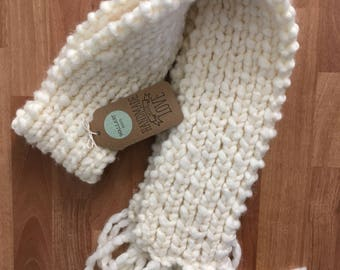 Jumbo Fluffy White Scarf - Extra Thick Winter Knitted Scarf - Adult Size