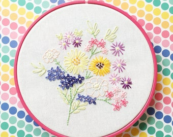 Vintage floral bouquet //  Hand embroidered // hoop art // vintage inspired // colourful