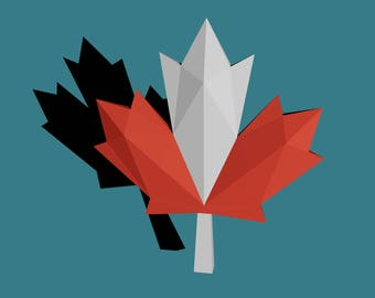 Canadian Maple Leaf papercraft - printable DIY pdf template, Canada 150