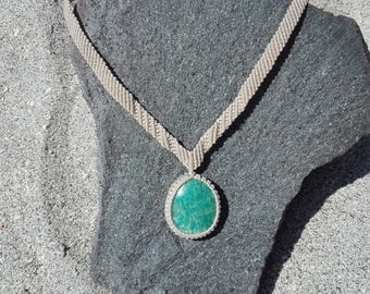 Macrame necklace FREE SHIPPING! Turquoise Blue Amazonite