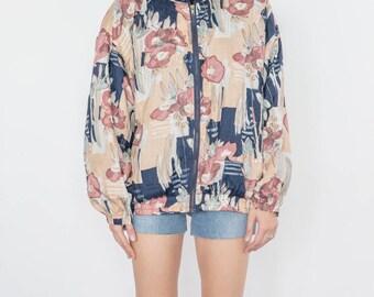 Vintage 90s Pale Peach Flowers Bomber Jacket