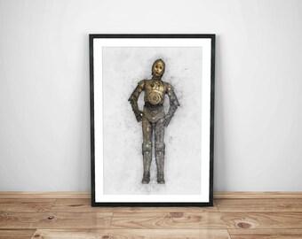 star wars, c3po print, instant download, star wars poster, download star wars, droid, c3po download, star wars print,