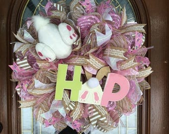 Easter Bunny Holiday Spring Deco Mesh Wreath for Front Door