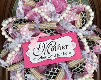 Mother's Day Deco Mesh Wreath Gift Decor for Front Door