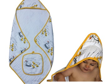 Baby Hooded Towel - 2 Piece 100% Muslin Cotton  Bath Towel and Matching Washcloth Set - Large Generous Sizes Unisex for Boys and Girls Duck