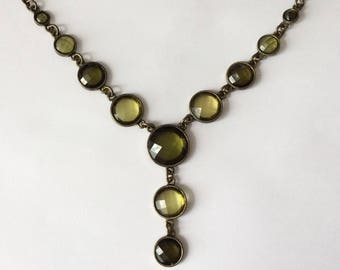 Vintage 1960's Olive Green Faceted Crystal Dangle Necklace