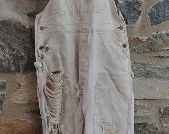 Worn awesome vintage shredded ooak worker overalls faded
