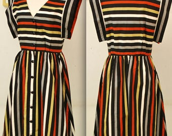 1960's Multi Color Striped Summer Dress / Kimono Sleeve / Summer Party Dress / Mad Men / Rare Collectable Retro
