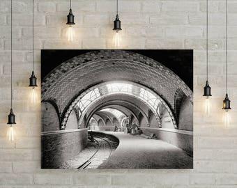 New York City Photo, City Hall Subway Station, 1901,  Historical NYC, Black White, Photography, Poster Print